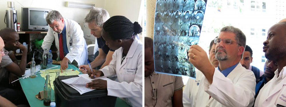 Dr. Michael Haglund with colleagues in Uganda