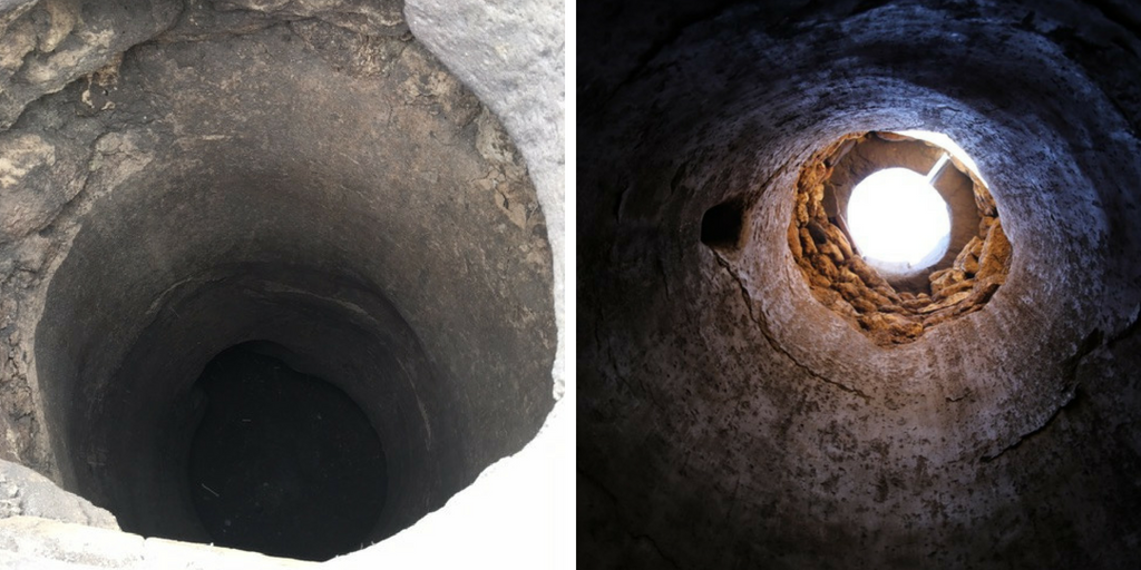 Well-cistern in Vulci from above and below