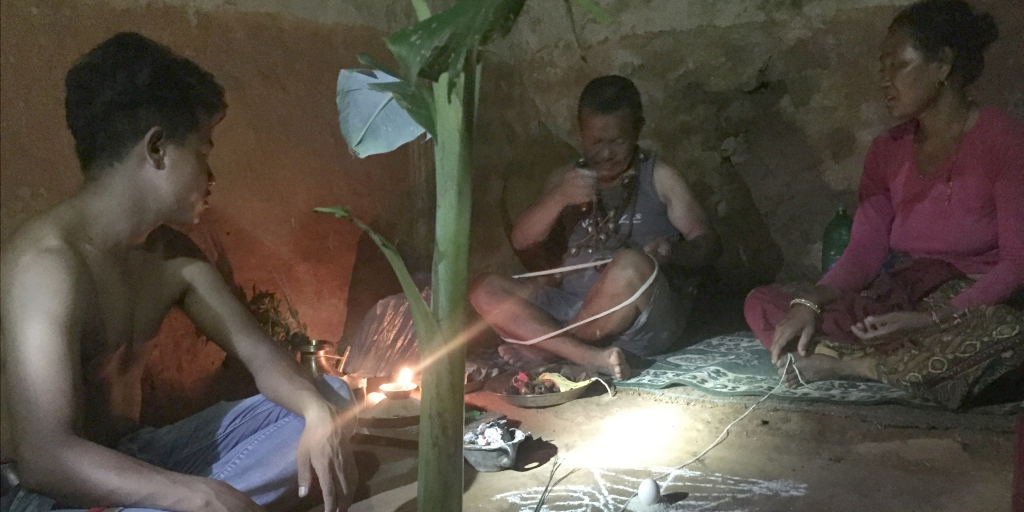 Traditional healing in Nepal.