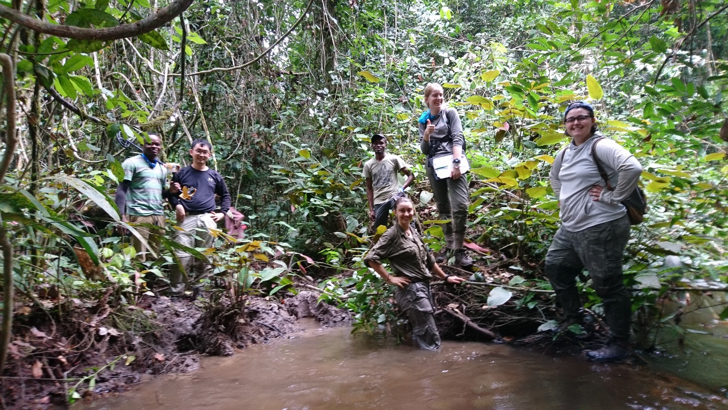 Members of the team pose with local partners in Ivindo National Park, Gabon in Summer 2018.