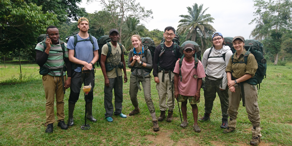 Members of the team pose with local partners in Ivindo National Park.