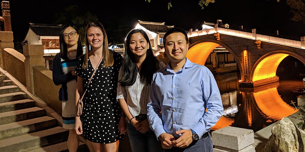 Liping Feng (Duke faculty), Chrissy Crute (PhD student), Yan Sun (MEM student), John Ji (DKU faculty).
