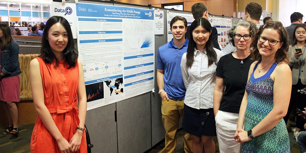 Chudi Zong, Ethan Czerniecki, Daisy Zhan, Charlotte Sussman, and Emma Davenport at the Data+ poster session.