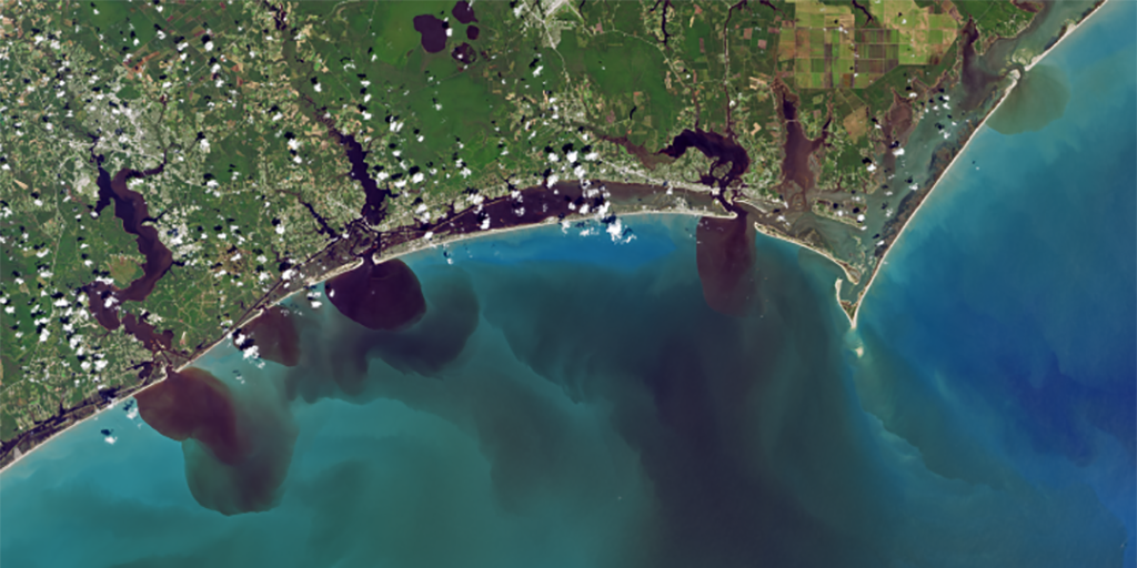 Figure 1. The view of southeastern North Carolina days after the impact of Hurricane Florence in September 2018 from Landsat 8.
