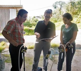 David, Julie and Gina with samplers.