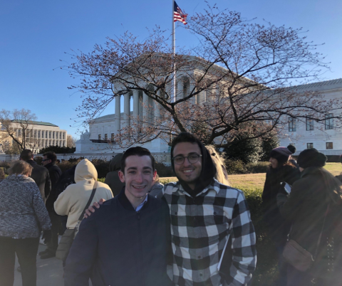 Two of the team members at the Supreme Court