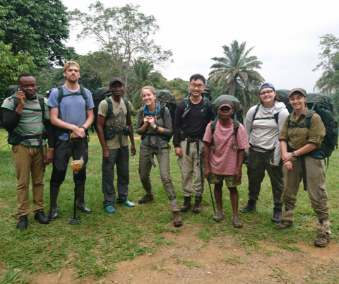 The team members in the field doing research in Africa