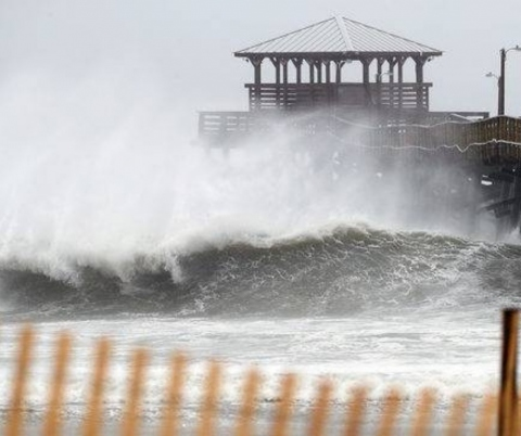 Waves crash at Atlantic Beach, NC, during Hurricane Florence.
