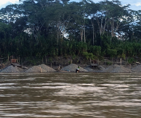 Gold mining in the Peruvian Amazon.