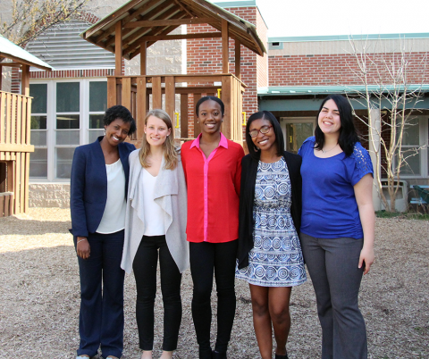 Photo: Kamilah Legette, Celia Garrett, Victoria Prince, Nia Moore and Jennifer Acosta outside McDougle Middle School in Carrboro