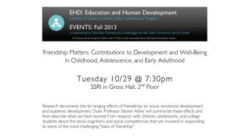 10/29:  Friendship Matters: Contributions to Development and Well-Being in Childhood, Adolescence, and Early Adulthood