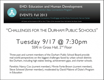 9/17: Panel Discussion on the present and future of Durham Public Schools