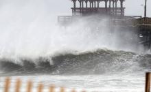 Waves crash at Atlantic Beach, NC, during Hurricane Florence.
