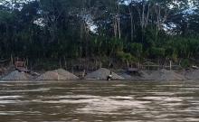 Gold mining in the Peruvian Amazon.