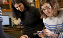 Duke engineering professor Nimmi Ramanujam and postdoc Jenna Mueller with Pocket Colposcope prototype (by Jared Lazarus)